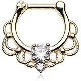 316L, 16GA, Golden Turan Sparkle Septum Clicker Ring