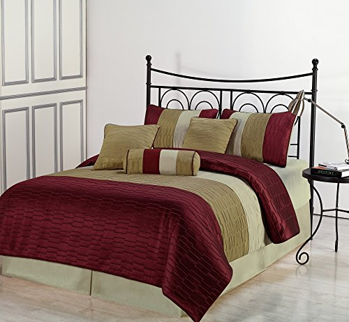 Amber Jacquard 7 Piece Down Alternative Comforter Set, Full, Burgundy/Gold/Beige (Bed Ensemble Striped Red)