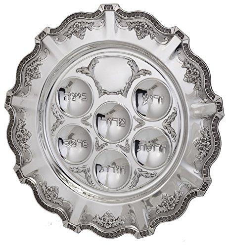 Hazorfim Cobalt Seder Plate Passover Pesach sterling silver judaica Israel Jerusalem Holy land gift .925 925 seder Jewish holiday hatzorfim by Hazorfim