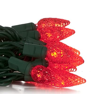 50 C6 Red LED Christmas Light Set; Green Wire
