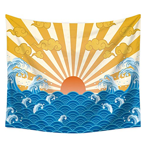 MRQXDP Spray and Golden Sun Clouds, Bedroom Living Room Decoration Tapestry Beach Towel Shawl ()