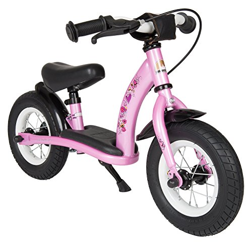 BIKESTAR® Original Safety Lightweight Kids First Balance Running Bike with brakes and with air tires for age 2 year old boys and girls | 10 Inch Classic Edition | Pink Fairy