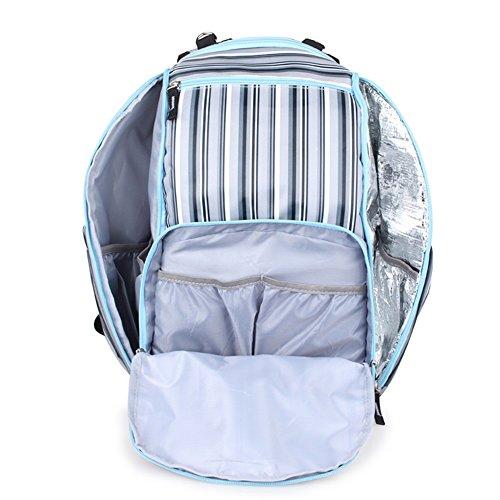 Global- 26 * 17 * 41cm del estilo de lona rayado de gran capacidad paquete de la momia, de la manera extraña de viaje esencial multifunción mochila, las mujeres embarazadas Saliendo mochila ( Color :  #1
