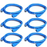 [6x] USB Extension Cable USB 3.0 High Speed Extender Cord Type A Male to A Female for Oculus VR,Playstation,Xbox,USB Flash Drive, Card Reader, Hard Drive,Keyboard,Printer,Scanner,Camera -3.0ft (6x)