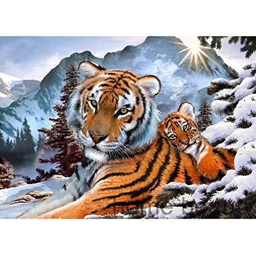 Asmyu Diamond Painting 100% Full 5D DIY Daimond Painting 3D Diamond Painting Full Round Rhinestones Embroidery Siberian Tiger (12x16 inch/40X50cm)
