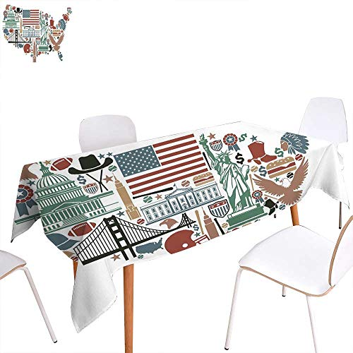 """familytaste Map Rectangular Tablecloth Traditional Symbols in The Form of United States of America Map Travel Landmarks Flag Oblong Wrinkle Resistant Tablecloth 52""""x70"""" Multicolor"""