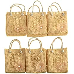 Homeford Mini Woven Favor Tote Bags, Daisy, 3-Inch, 6-Piece (Natural)