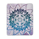Josid Blanket Soft Warm Lightweight throw 50x60 Inches Mandalas Symmetry Meditation Round Relax Pattern Personalized Stylish for Bed Couch Sofa Travelling Camping Kids Boys Women