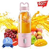 Granbest Portable Blender, Personal Blender for Shakes and Smoothies, 500ml Rechargeable USB Blender Bottle with 6 Blades, Small Travel Fruit Mixer Machine Juicer Cup (Pink)