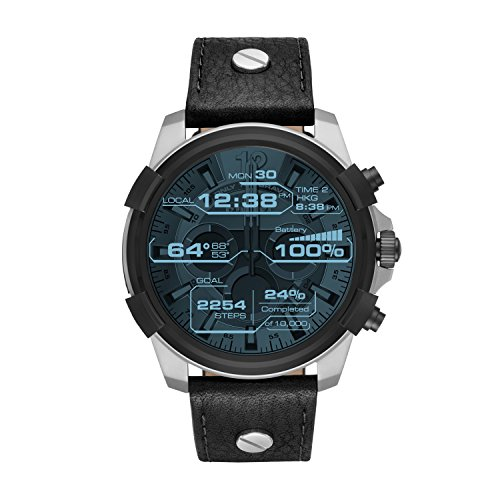 Diesel On Full Guard Touchscreen Black Leather Smartwatch DZT2001 Animation Mens Watch