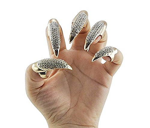 Wowlife False Nail Punk Style Talon Claw Paw Finger Ring Knuckle Bend Fingertip Finger Claw Ring (10 Pcs, Golden) ()