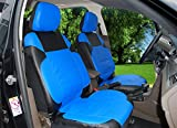 115305 Black/blue-leather Like 2 Front Car Seat Covers Compatible to HYUNDAI ACCENT SONATA HYBRID SONATA PLUG-IN TUCSON FUEL CELL 2017-2007