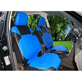 115305 Black Blue Leather Like 2 Front Car Seat Covers Compatible To FORD ESCAPE