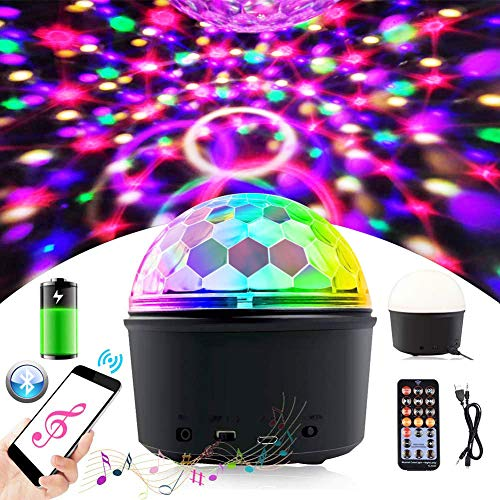TemwJa Portable Disco Ball Light, Sound Activated Disco Lamp for Travelling Party Lights, 9 Colors Strobe Light Wireless Phone Connection for DJ Birthday Kids Music Light Bedroom LED Ball Light -