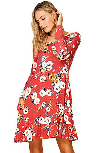 with Pockets Neck Scoop Comfy Swing Sleeve 3 Floral Dress Annabelle Coral 4 Women's wOzBaa
