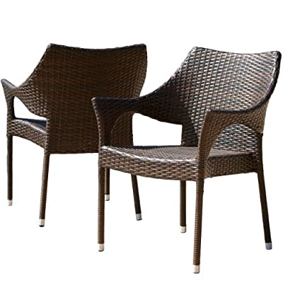 Del Mar Outdoor | Wicker Stacking Chairs | Set of 2 | Perfect for Patio | MultiBrown - The del Mar outdoor wicker chair comes in a set of two allowing you and your guest to comfortably relax outdoors. Made of sturdy powder coated Steel frame with faux wicker, these seats are sure to withstand the outdoor elements. Includes (2) stacking chairs Materials: Multibrown faux wicker over a sturdy powder coated Steel frame - patio-tables, patio-furniture, patio - 51lJZDY3x3L. SS400  -