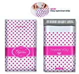 500 9x12 Designer Poly Mailers with Pink Polka Dots, THANK YOU Design, Easy-open Tear Strip, Strong Glue, Anti-static Release Liner, 2.4 Mil Thickness, and More