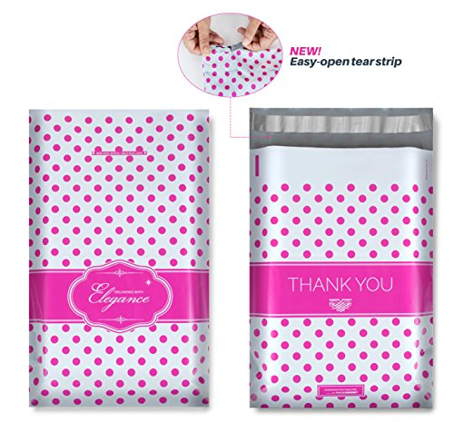 9x12 Designer Poly Mailers with Pink Polka Dots, Easy Tear Strip, THANK YOU Design, Self Adhesive & Strong Glue, Anti-static Release Liner - 2.4 Mil Thick, 100 Bags
