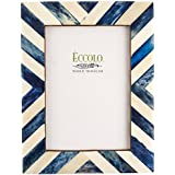 Eccolo Naturals Frame, 5 by 7-Inch, Angled Stripes Blue