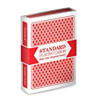 Red Deck Wide Size Plastic Coated Standard Playing Cards by Brybelly
