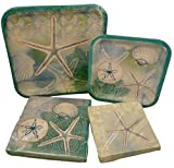 Beach Vacation Theme Paper Plates and Napkins - Bundle of Four Items 2 Packs Paper Plates and 2 Packs Napkins (Aqua Starfish Sand Dollar Sea Shells)