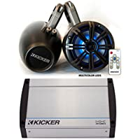 Kicker Marine Wake Tower System w/Charcoal 6.5 LED Speakers, LED Remote and 40KXM400.4 400 Watt Amplifier