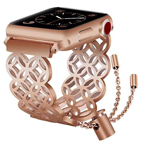 VIGOSS Jewelry Metal Bangle Compatible with Series 4 Apple Watch Band 38mm/40mm Women Luxury Copper Rose Gold Cuff Floral Hollow Bracelet Stainless Steel Strap for iWatch Series 4/3/2/1 Sport