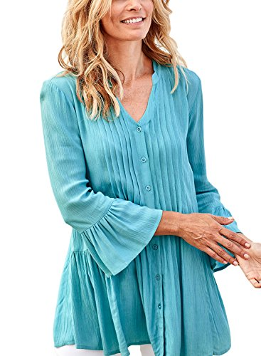 Azokoe Womens 2018 Fall Blouse Casual Spring Bohemian Flare Sleeve Button up V Neck Tunics Henleys Shirts Solid Flare Tops...