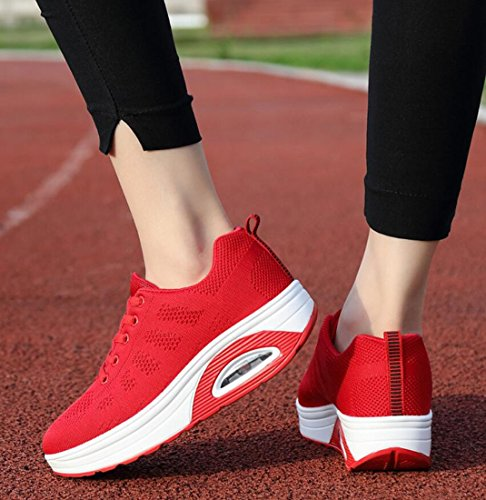 Spring Shoes Casual Women's Running ROES Shoes and RED Outdoor Air Shoes Mesh Summer Platform DANDANJIE Sports Cushion Breathable Sports 7Evd7xw6
