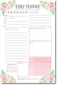 Pink Floral Undated Daily Task Planner To do List Pad, School Family Life Work Personal Productivity Notepad, Day Schedule Organizer, Cute Gift Idea Water Exercise Goal Habit Tracker 50 Tear Off Pages