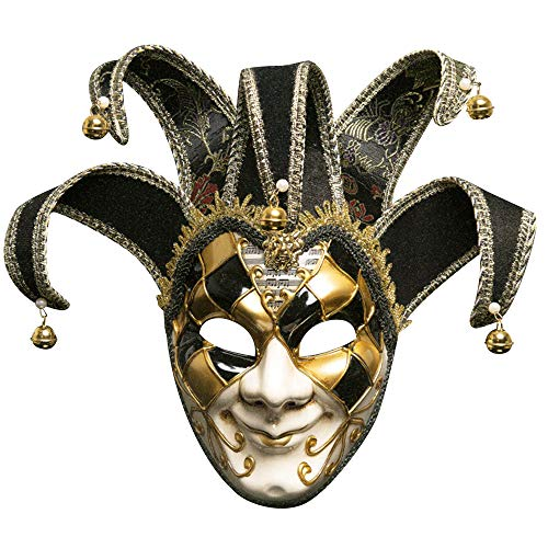 IEUUMLER Retro Venetian Masquerade Masks Eye Mask for Halloween Mardi Gras Party Ball Costume TS012 (Black)