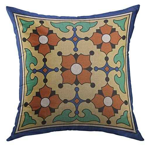 Mugod Decorative Throw Pillow Cover for Couch Sofa,Tiles Catalina Island Vintage 1920S Pottery Home Decor Pillow case 18x18 -