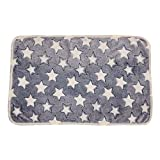 Jim Hugh 1Pc Pet Mat Small Large Paw Bone Print Cat Dog Cushion Fleece Soft Blanket Bed Star Pattern Gray
