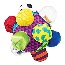 Sassy Chime & Chew Textured Ball 5 Multiple textures & materials engage baby's developing tactile sensitivity & teach baby about variety Chunky sized bumps encourage reaching, grasping, and transferring from one hand to the other Gentle rattle sounds create neural connections in babies brains from birth through 3 years