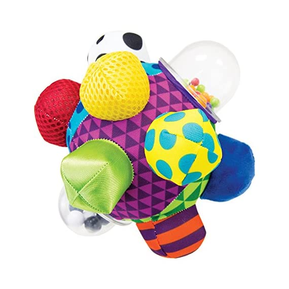 Sassy Chime & Chew Textured Ball 1 Multiple textures & materials engage baby's developing tactile sensitivity & teach baby about variety Chunky sized bumps encourage reaching, grasping, and transferring from one hand to the other Gentle rattle sounds create neural connections in babies brains from birth through 3 years