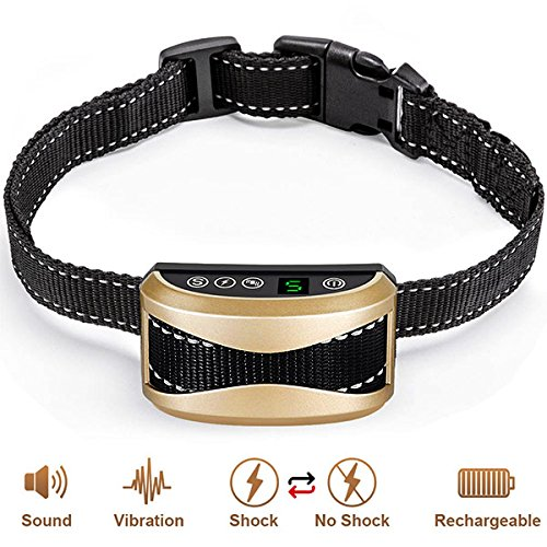 No Bark Collar - Rechargeable Anti-Barking Shock Control with 5 Levels Automatic Bark Collar for Small Medium Large Dogs Electronic Safe Stop Bark (design3) by kumeek