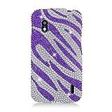 Eagle Cell PDLGE960S326 RingBling Brilliant Diamond Case for LG Nexus 4 E960, Retail Packaging, Purple Zebra