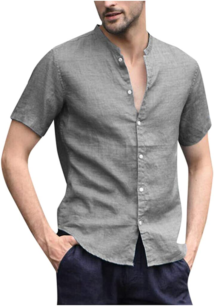 Mens Summer Linen Cotton Henley Shirts Casual Short Sleeve Button Down Solid Breathable Shirt Beach Plain Tees Blouse