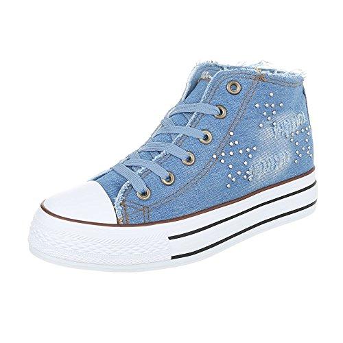 Ital-Design High-Top Sneaker Damenschuhe High-Top Sneakers Schnürsenkel  Freizeitschuhe Blau