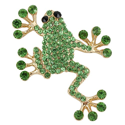 EVER FAITH Women's Austrian Crystal Adorable Jumping Frog Animal Brooch Green (Austrian Crystal Frog Pin)