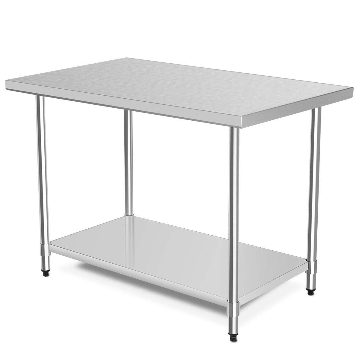"""zwan 24"""" x 30"""" Stainless Steel Food Prep Table with Backsplash with Ebook"""