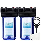 Geekpure 10-Inch Whole House Big Blue Water Filter Housing 1-Inch Outlet/Inlet with Wrench and Bracket -Clear-4.5 x 10 Inch (Pack of 2)