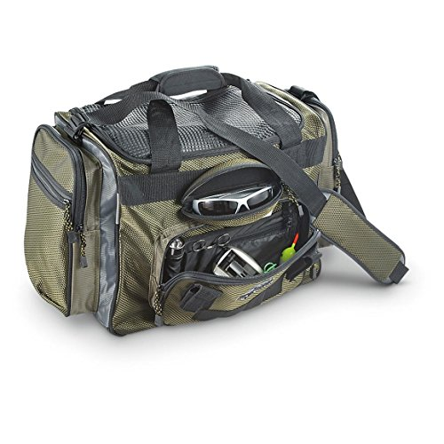 (OkeeChobee Fats FBA300WFSH-000 Fisherman Deluxe Tackle Bag, 4 Utility Tackle Boxes, Brown/Green)