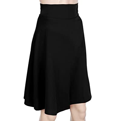 Anshinto Summer Vintage Women Stretch Knee-Length Solid Fashion A-Line High Waist Skater Flared Pleated Swing Long Skirt Dress