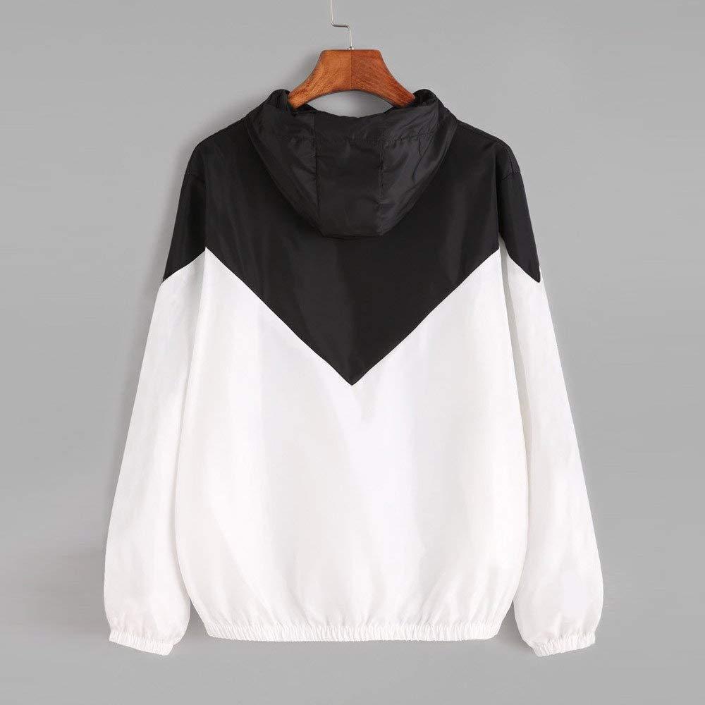 Jennyus Womens Hoodies Sweatshirt Color Block Long Sleeve Drawstring Hooded Jacket Coat Zipper Windbreaker with Pockets