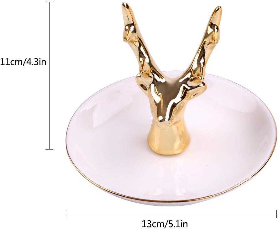 Soporte para anillo Plato para anillo Soporte para joyas Organizador de joyas de cer/ámica Collar Pendientes Plato Bandeja para baratijas para regalos de cumplea/ños de Navidad Asta de reno