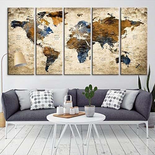 Amazon.com: Modern Large Abstract GRUNGE Brown Dark Blue ...