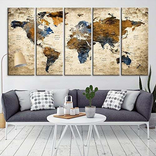 Modern Large Abstract GRUNGE Brown Dark Blue Wall Art World Map Canvas  Print for Wall Decor - Wall Art Canvas Print for Home and Living Room Decor  - ...