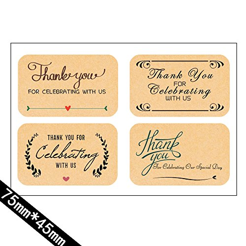 Thank You For Celebrating With Us)80 Label Stickers tags-Personalised Wedding,Birthday,Baby Bridal Shower,Graduation, Anniversary, Business, Party Favors.