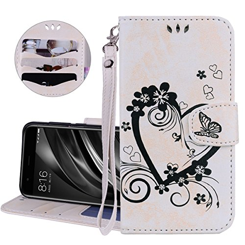 (Galaxy S9 Plus Flip Wallet Case,Samsung Galaxy S9 Plus Leather Cover,Gostyle Embossed Love Heart Flower Butterfly Pattern Built-in Card Slots Kickstand with Magnetic Closure Hand Strap,White)